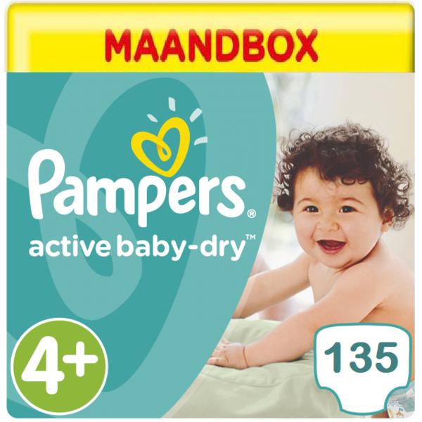 Pampers Pampers Active Baby Dry Maandbox Maat 4+ - 135 Luiers