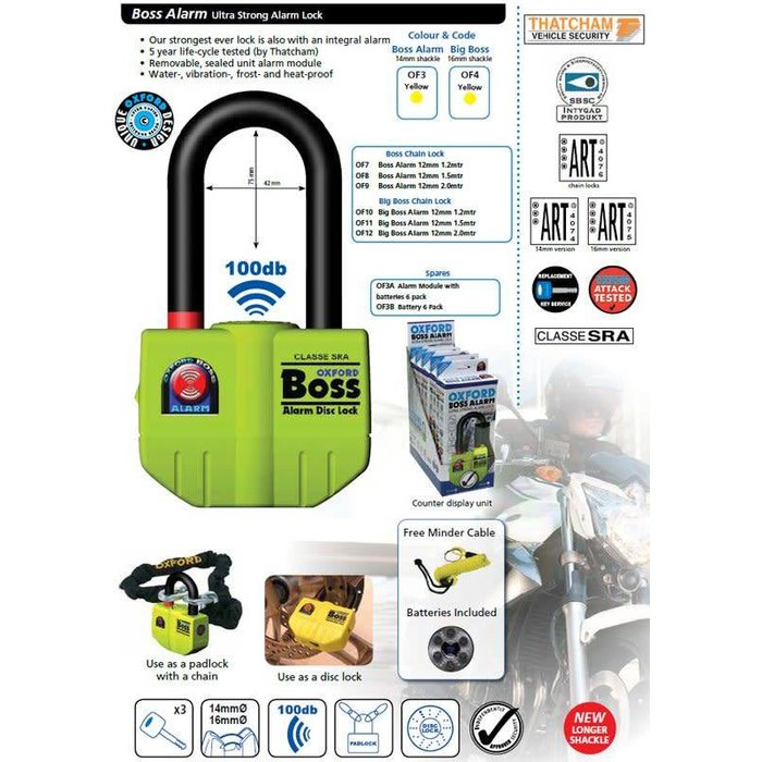 Oxford Big boss ALARM disc + chain 150cm
