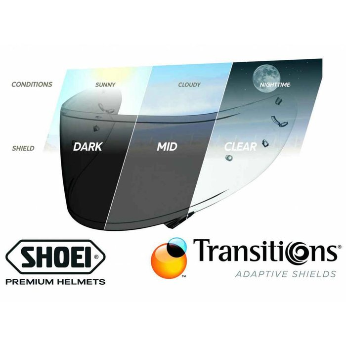 Shoei NXR / X-Spirit 3 transitions adaptive visor