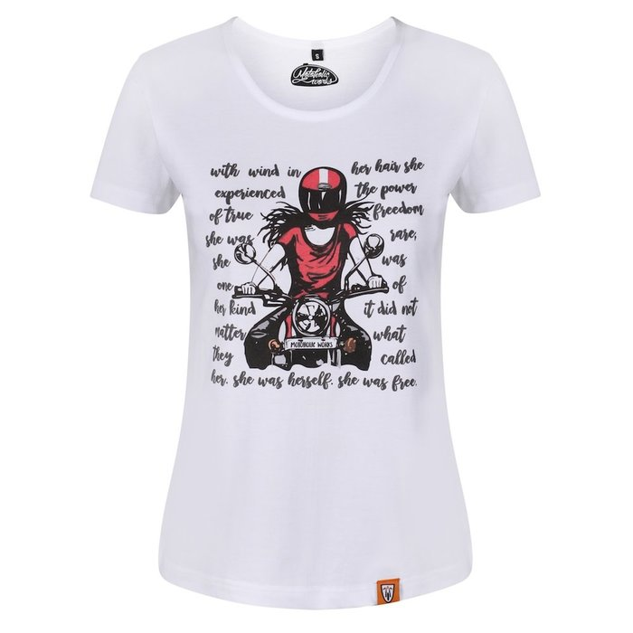 Motogirl Lady in Red T-Shirt