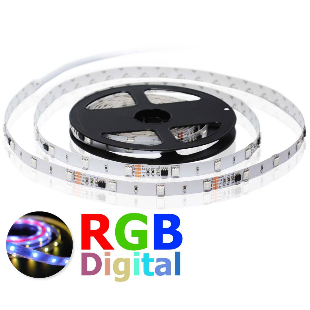 LED Strip Flexibel 30 LED/m RGB Digitaal (Magic) - per 50cm