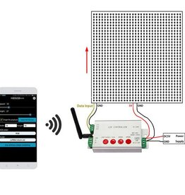Controllore programmabile per Strisce LED Digitale con software di editing WiFi Internet