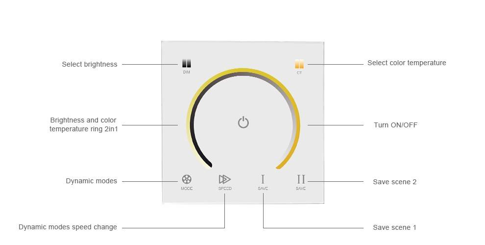 Wall-mount CCT Dual Color Controller with touch panel White