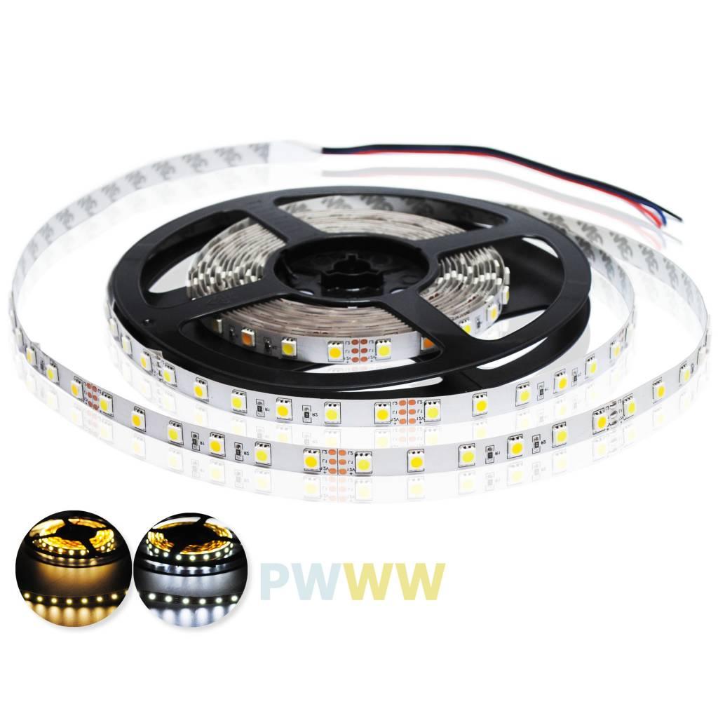 LED Streifen IP68 Wasserdicht 2835 120 LED/m Weiss ~ Warm Weiss Farbtemperatur einstellbar - pro 50cm