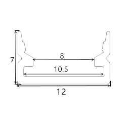 Perfil de aluminio 1208 - 1 Metro