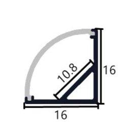 Profil en aluminium d'angle 1616A - 1 mètre