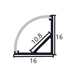 Profilo in alluminio angolare 1616A - 1 Metro
