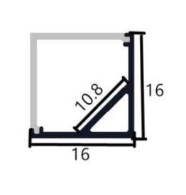 Profil en aluminium d'angle 1616B - 1 mètre
