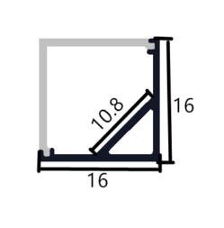 Corner Mount Aluminium profile 1616B - 1 Meter