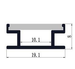 Aluminium H grondprofiel 1908 - 1 Meter