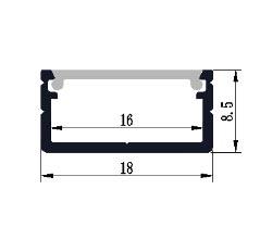 Profilo in alluminio 1808 - 1 Metro