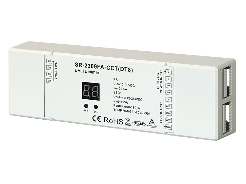 DALI DT8 Dual Color CCT LED Strip Controller SR-2309FA CCT