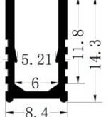 Aluminiumschiene 6x12 für einfarbige Neon - 1 Meter