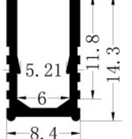 Aluminium profiel 6x12 Voor Enkelkleurige Neon - 1 Meter