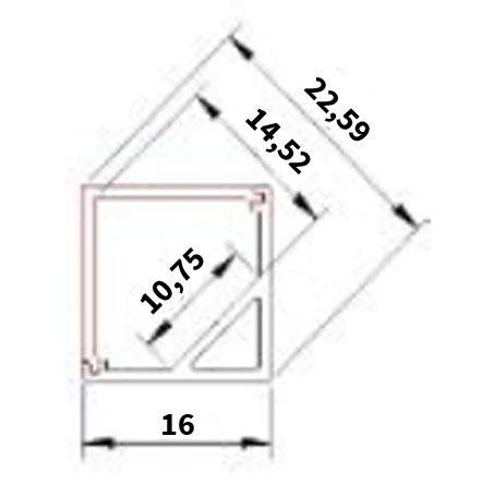 Perfil de aluminio angular cuadrado (45 Grados) 1 Metro