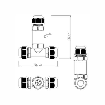 Connettore cavo IP68 a 3 poli - T-Split