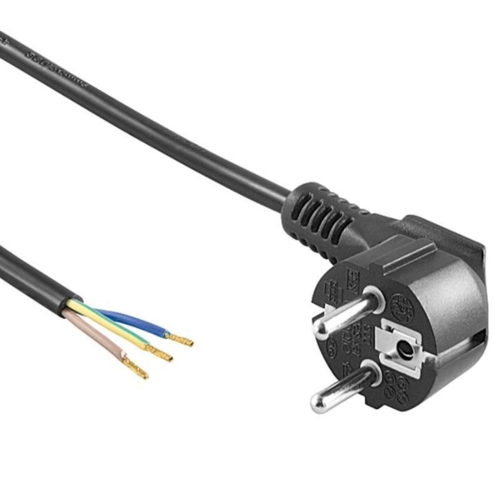 Netzstecker Euro geerdet schwarz mit Kabel