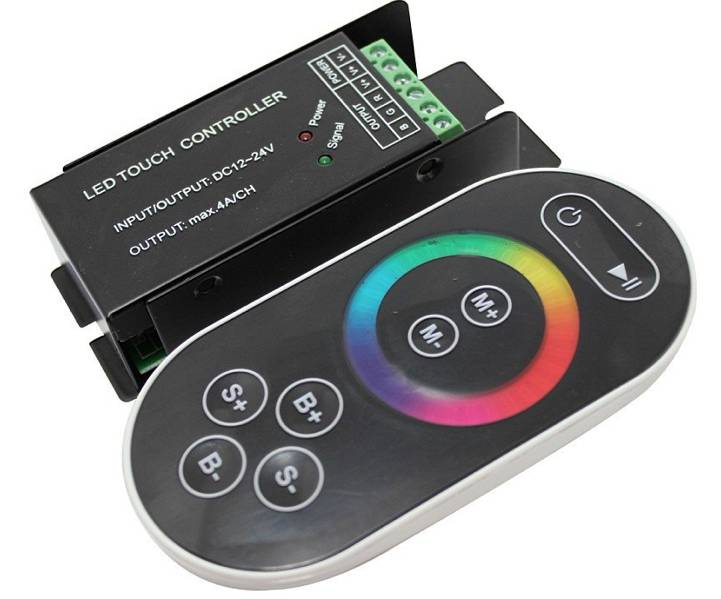 Controlador RGB con control remoto con rueda táctil - Negro - 8 Key