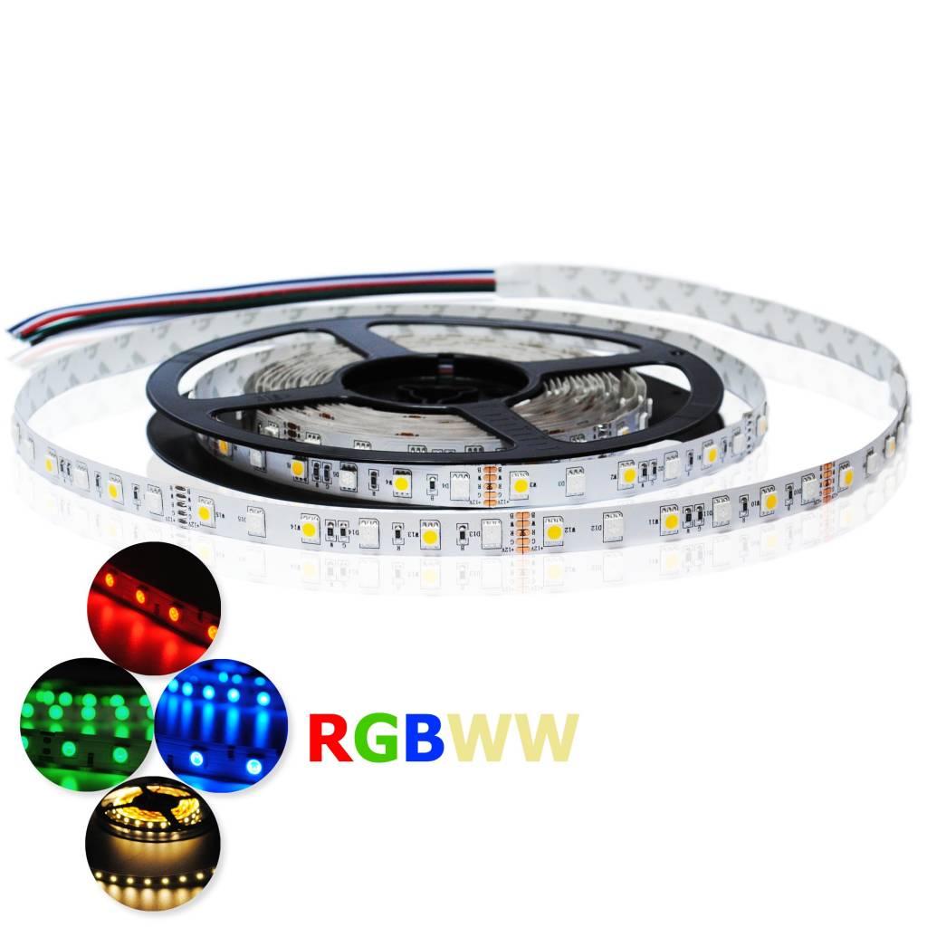 LED Strip Flexibel RGB-WW 4 in 1 chip 60 LEDs/m Waterdicht IP68 per 50cm