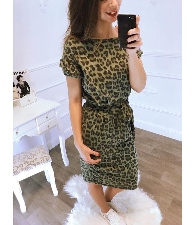 1391013bbf3c Panter strik jurk groen - Blush Fashionstore