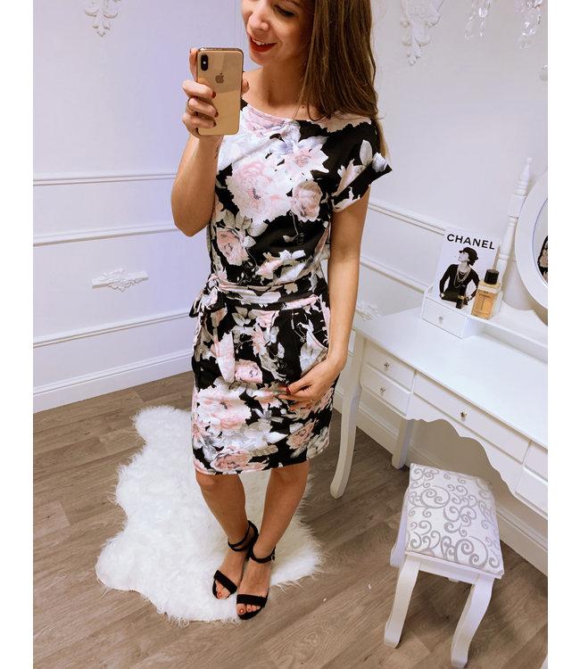 93175cb43704ff Bloemen Roze Strik Jurk - Blush Fashionstore