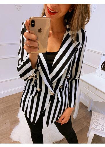 Zwart wit streep blazer