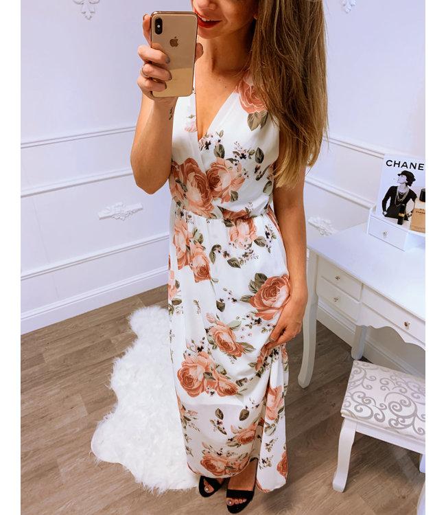 df350d9481421b Roze Bloem Jurk Lang - Blush Fashionstore