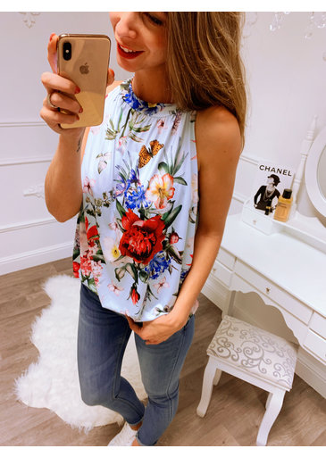 Flower Blauw Strik Top
