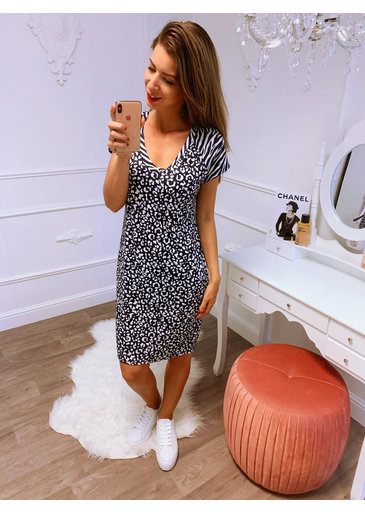 Loose Little Dress Wit Blauw