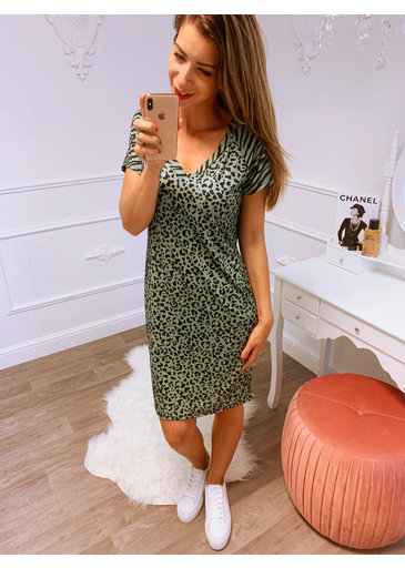 Loose Little Dress Groen Zwart