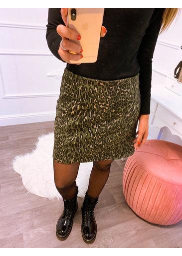 Leopard Gold Rok Groen