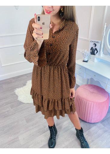 Ruffel Cheetah Dress Camel