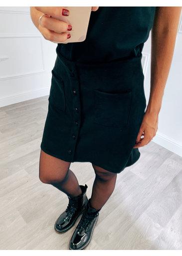 Suède Button Rokje Zwart