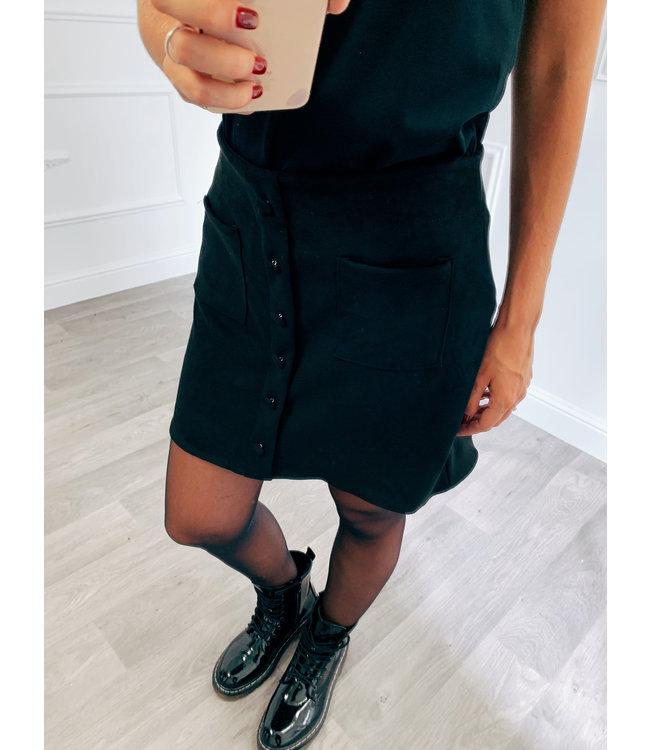 Suede Button Rokje Zwart