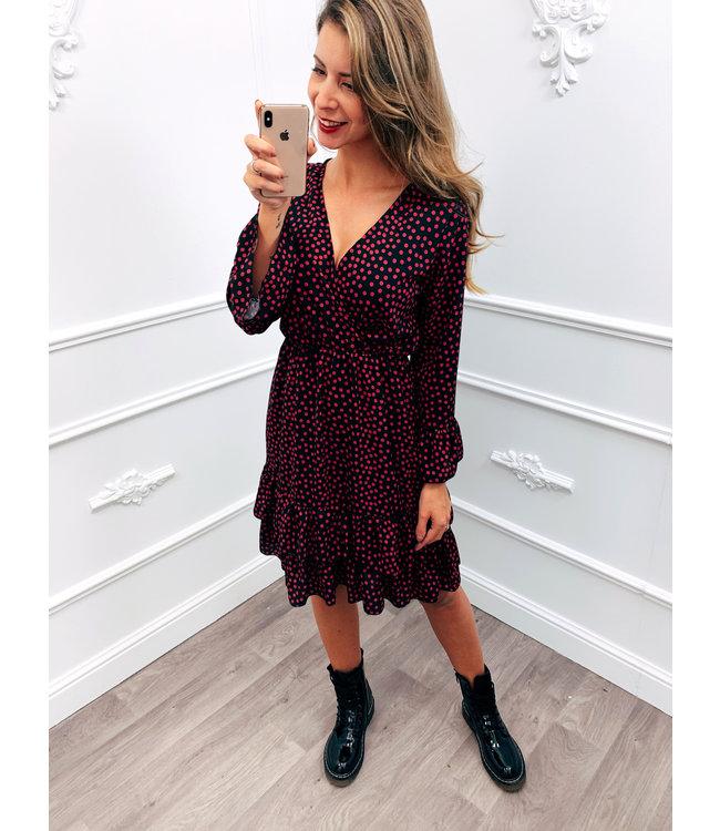 Dots Ruffel Dress Roze