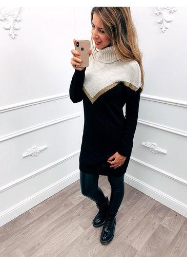 Cowl Trui Dress Zwart