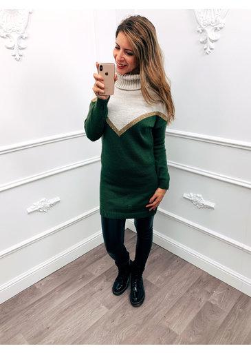 Cowl Trui Dress Groen