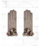 Handschoen Fur Panter Beige