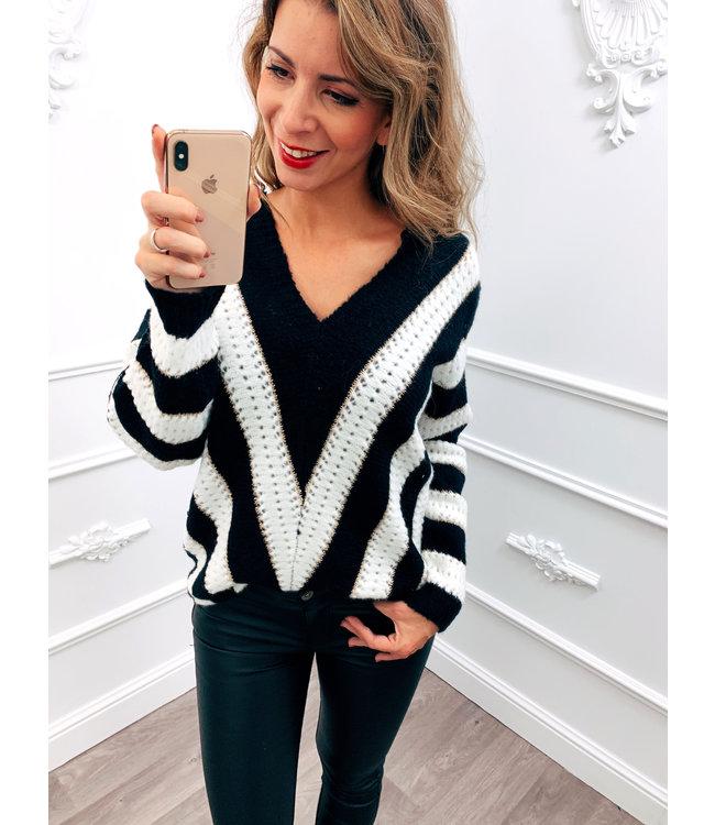 Line Up Sweater Zwart