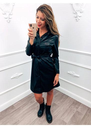 Leather Dress Zwart