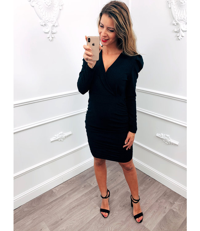 Plooi Sparkle Dress Zwart