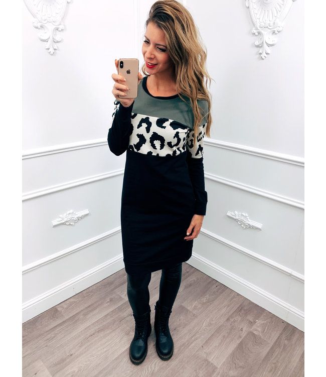 Sweater Dress Panter Streep Groen