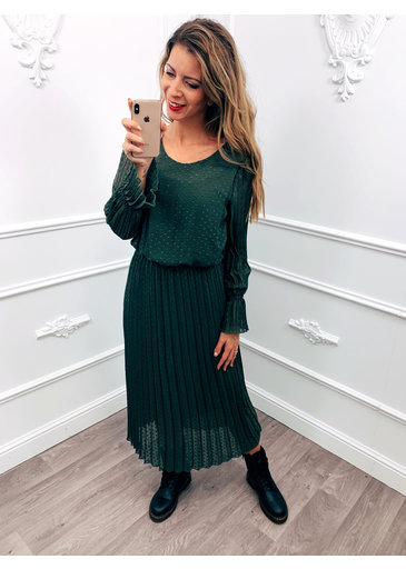 Long Dress Dots Green