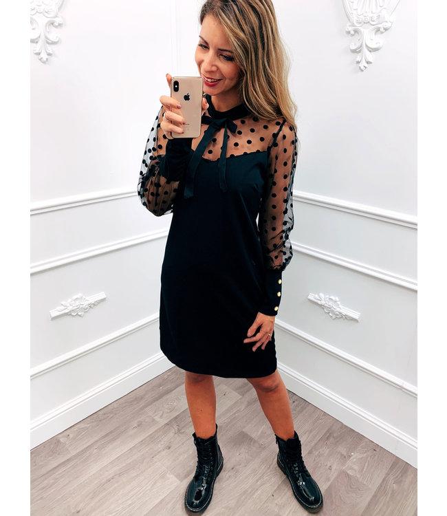 Lace Dots Dress Zwart