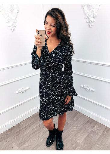 Star Wrap Dress Black