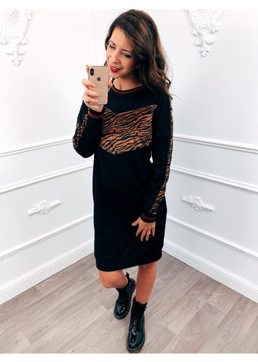 Tiger Velvet Dress Bruin