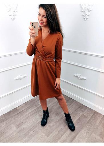 Golden Belt Dress Terracotta
