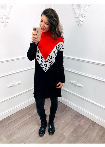 V Line Panter Dress Rood