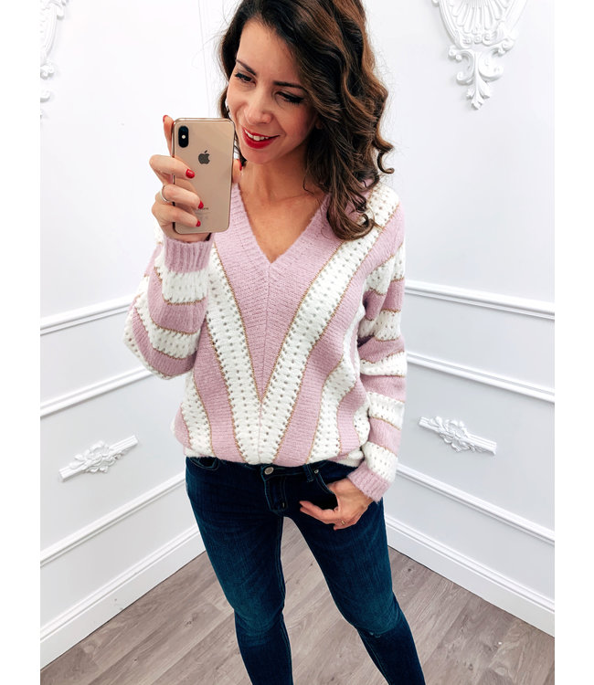 Line Up Sweater Lila