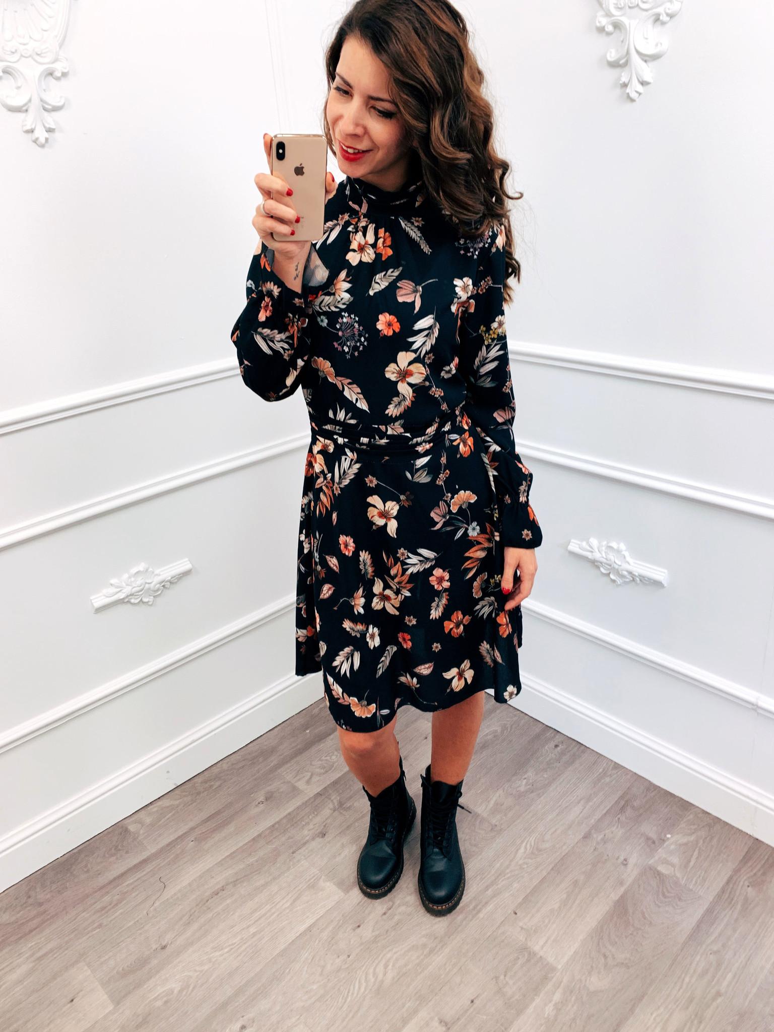 Cute Flower Dress Zwart